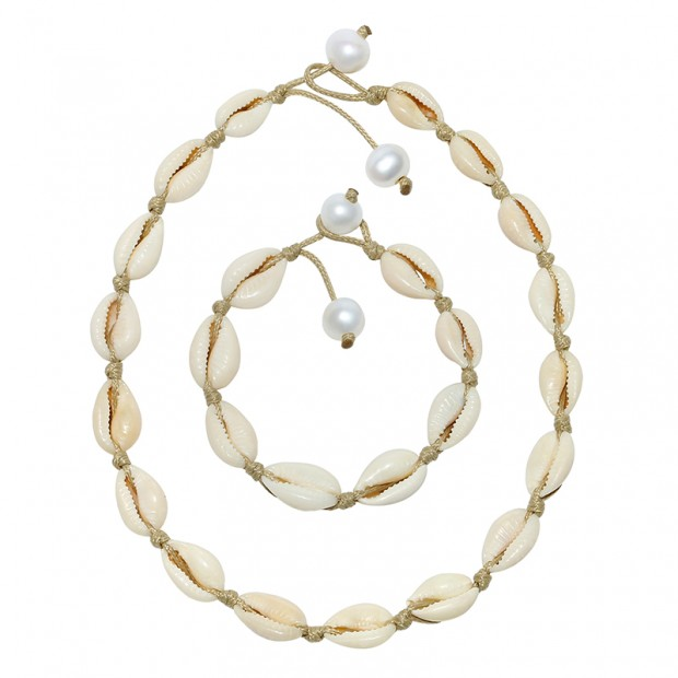 Aobei Pearl Handmade Shell Jewelry Set with Necklace & Bracelet Which are made of Freshwater Pearl and Shell on Wax Rope, ETS-S849