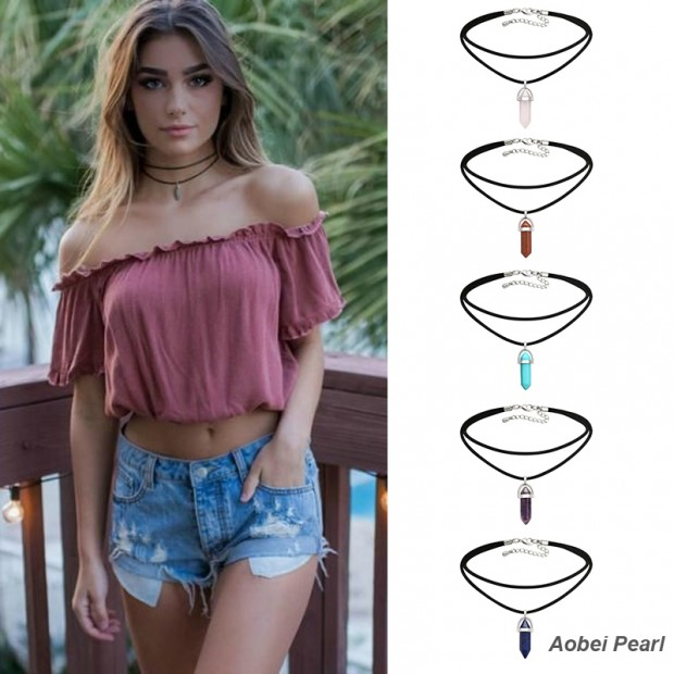 Aobei Pearl, A Set (5 Pieces) from the Sale, Handmade Natural Stone Pendant Choker Necklace with Korean Velvet for Women, Bullet Pendant Necklace, ETS-S858