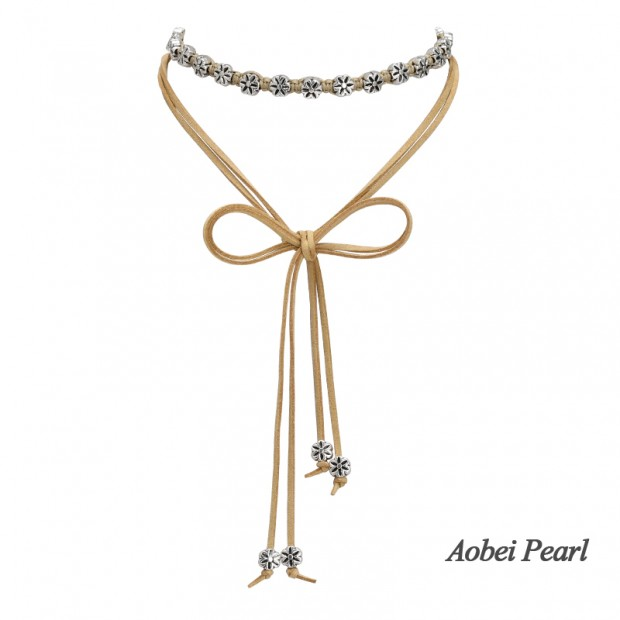 Aobei Pearl, Handmade Necklace / Bracelet made of Braided Korean Velvet and Flower Alloy Accessory, Wrap Bracelet, Wrap Necklace, ETS-S883