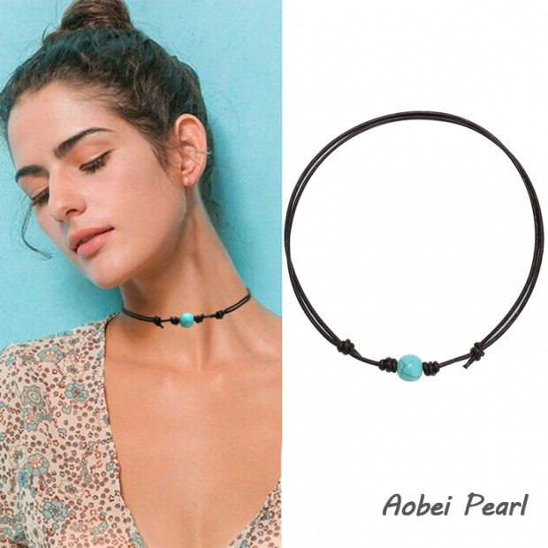 Aobei Pearl, Handmade Necklace made of Single Turquoise Beads and Genuine Leather Cord, Adjustable Necklace, Turquoise Choker Necklace, ETS-S897