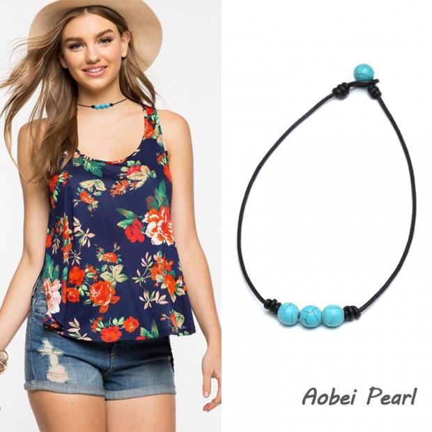 Aobei Pearl - Handmade Three Turquoise Beads Choker Necklace, Turquoise Necklace, Leather Necklace, ETS-S898