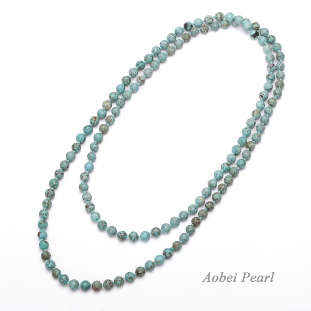 Aobei Pearl Handmade Necklace made of Natural Turquoises and Cotton Thread, Turquoise Necklace, Beaded Necklace, Knotted Necklace, ETS-S945
