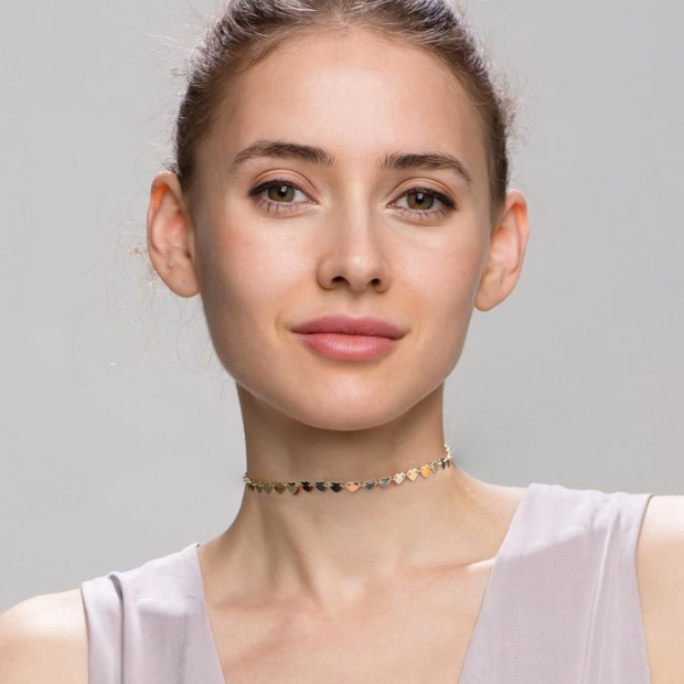 Aobei Pearl Gold Hearts Choker Necklace 18K Gold Plated Heart Strand Handmade Adjustable Jewelry for Women, Love Necklace, ETS-S974