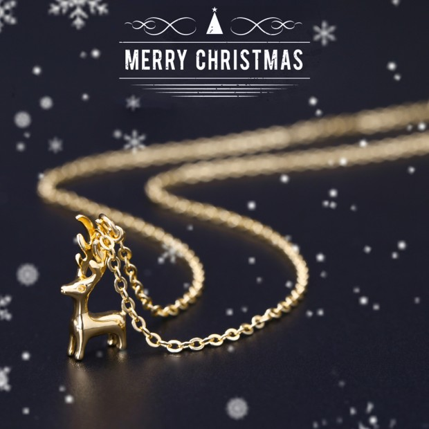 Aobei Pearl Christmas Deer Pendant Charm Necklace 18K Gold Chain Reindeer Elk Antler Animal Dainty Jewelry Gift for Her, Adjustable Dangle Necklace, ETS-S982