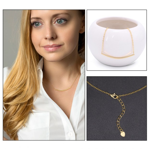 Aobei Pearl Curved Bar Pendant Necklace 18K Gold Chain Choker Handmade Adjustable Jewelry for Women, Gold Bar Balance Necklace, ETS-S989