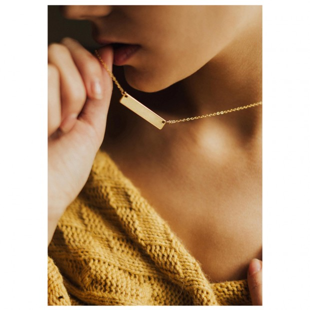 Aobei Pearl Rectangle Bar Pendant Necklace 18K Gold Chain Choker Handmade Adjustable Jewelry for Women, Gold Bar Charm Necklace, ETS-S990