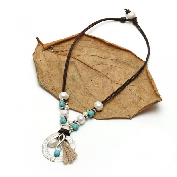Aobei Pearl- Handmade Turquoise & Pearl & Leather Necklace with Small Tassel, Pearl Necklace, ETS-S612