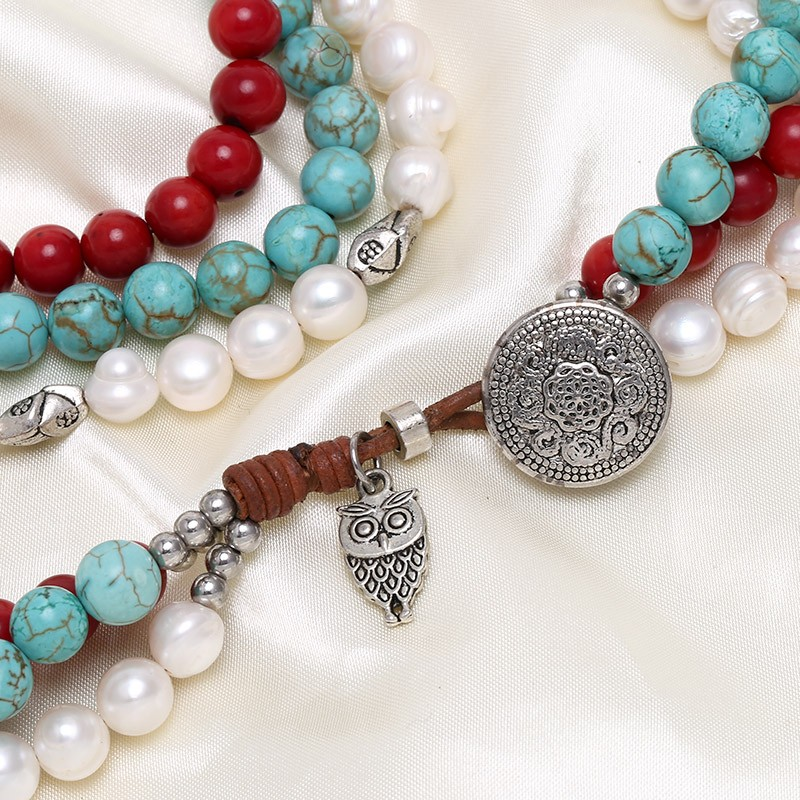 White Pearl Necklace Red Coral Necklace Nature Turquoise