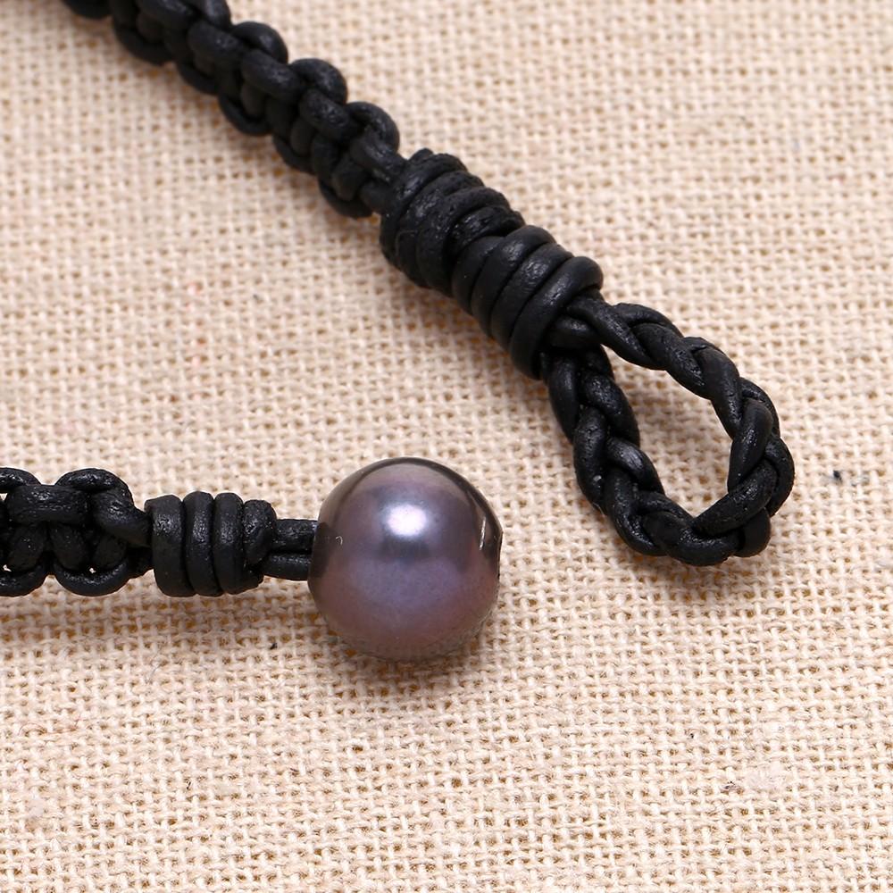 Black pearl leather bracelet, pearl and leather bracelet ...