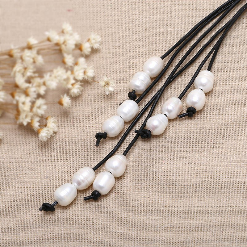 Well-known Aobei Pearl, Handmade Leather Pearl Necklace with Long Pearl  CI03