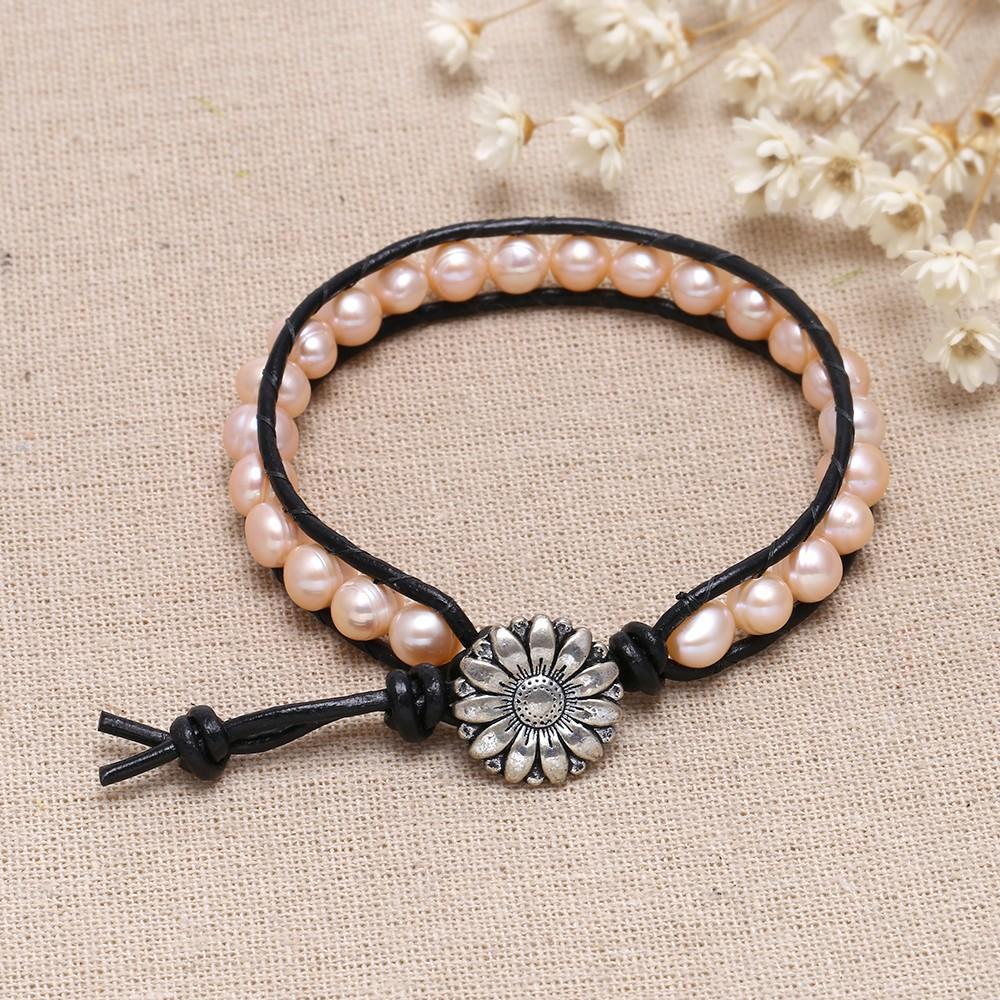 black leather pink pearl wrap bracelet leather bracelet. Black Bedroom Furniture Sets. Home Design Ideas
