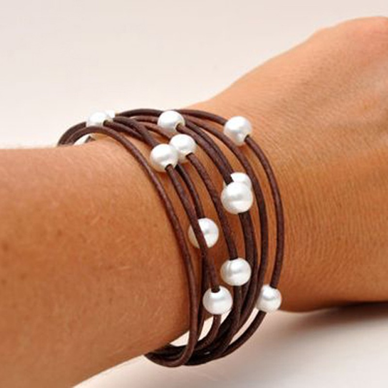 aobei pearl handmade leather pearl bracelet with many. Black Bedroom Furniture Sets. Home Design Ideas
