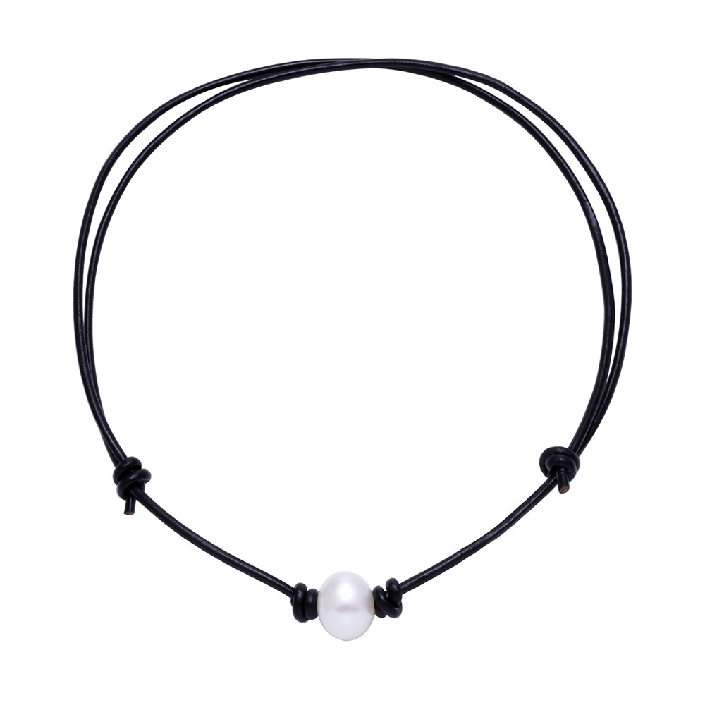 Aobei Pearl  Pearl Choker,adjustable Pearl Choker,leather Choker,large Pearl  Necklace