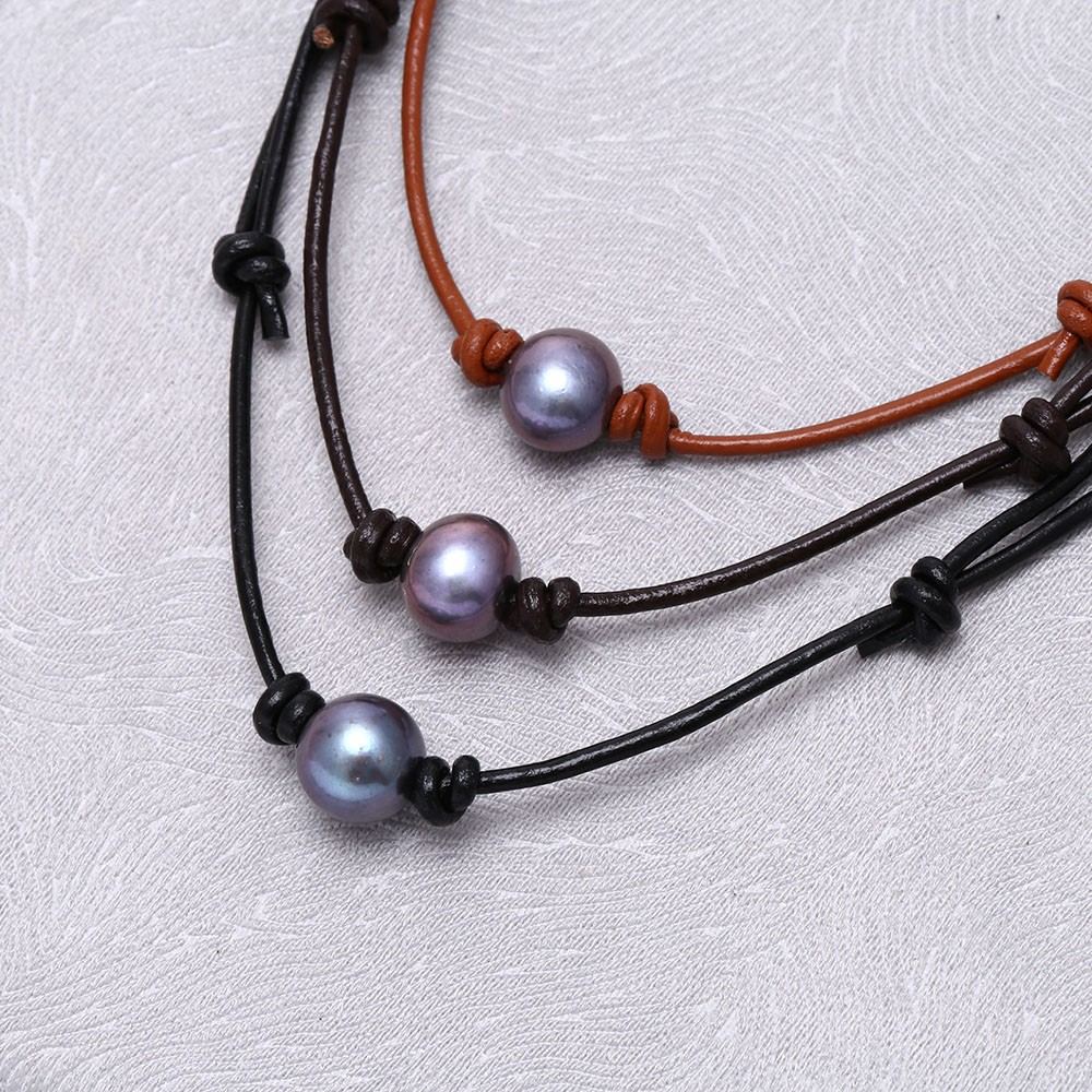 Aobei Pearl  Pearl Choker,adjustable Pearl Choker,leather Choker,large Pearl  Necklace,real Pearl Choker,leather Pearl Necklace,pearl Leather Choker Ets