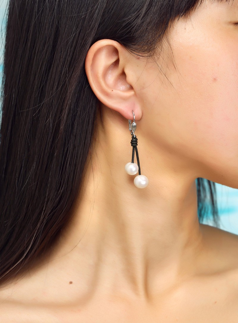 Aobei Pearl 10 11mm Of The Potato White Pearls Earring Women Leather Earrings Ear Pendants With Genuine Freshwater Ets E091