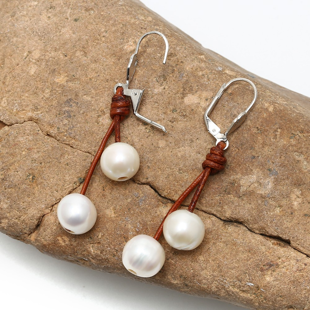 aobei pearl 1011mm of the potato white pearls earring