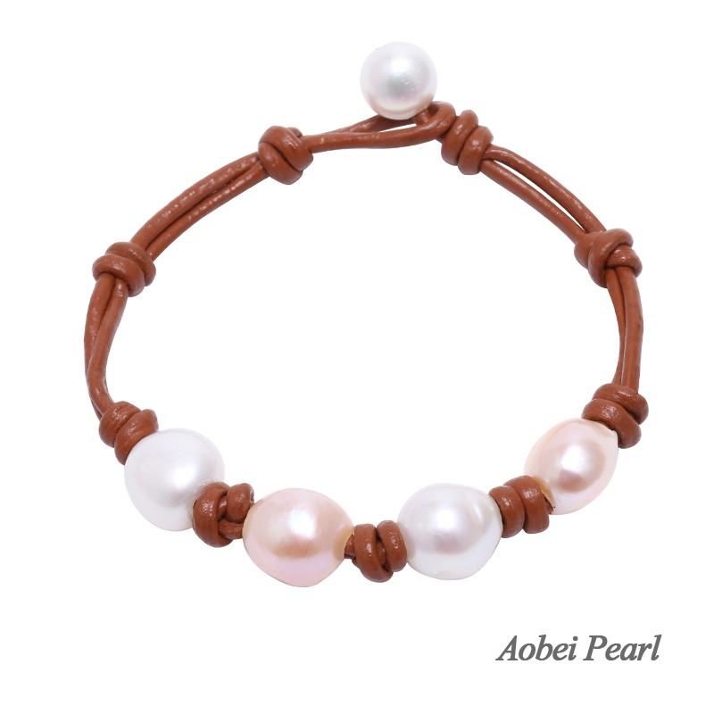 Brown Potato Pearl Beaded Bracelet