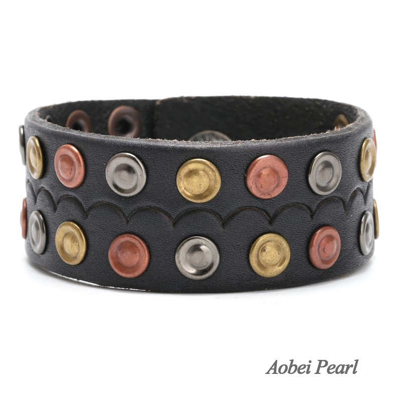 Aobei Pearl Handmade Bracelet Made Of Genuine Leather Cord And Alloy Accessory Cuff Studded Wrap Men