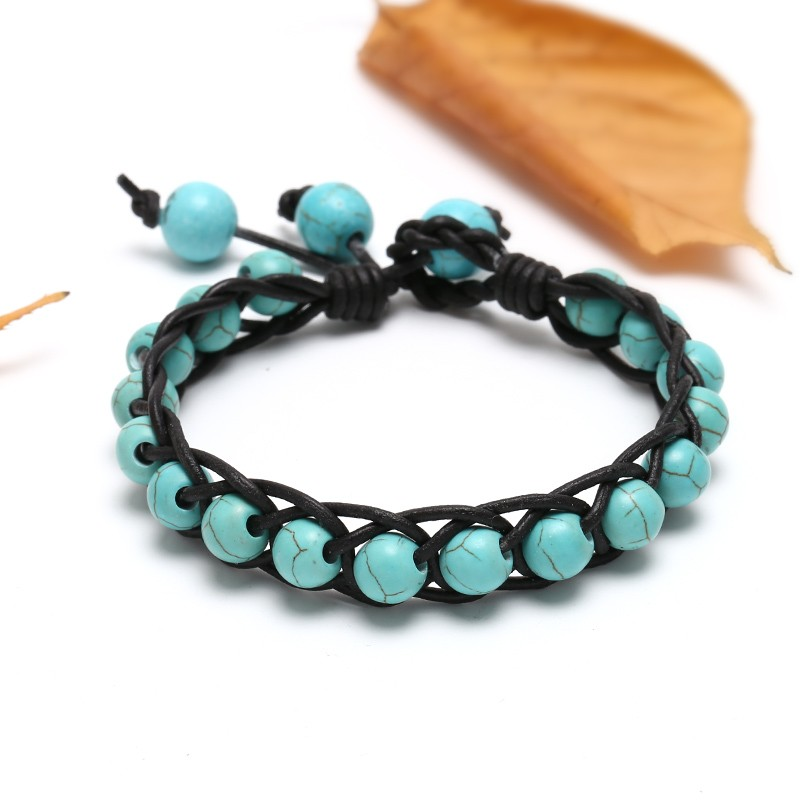 8mm Turquoise Beads Leather Bracelet Well Design Handcraft Bracelet