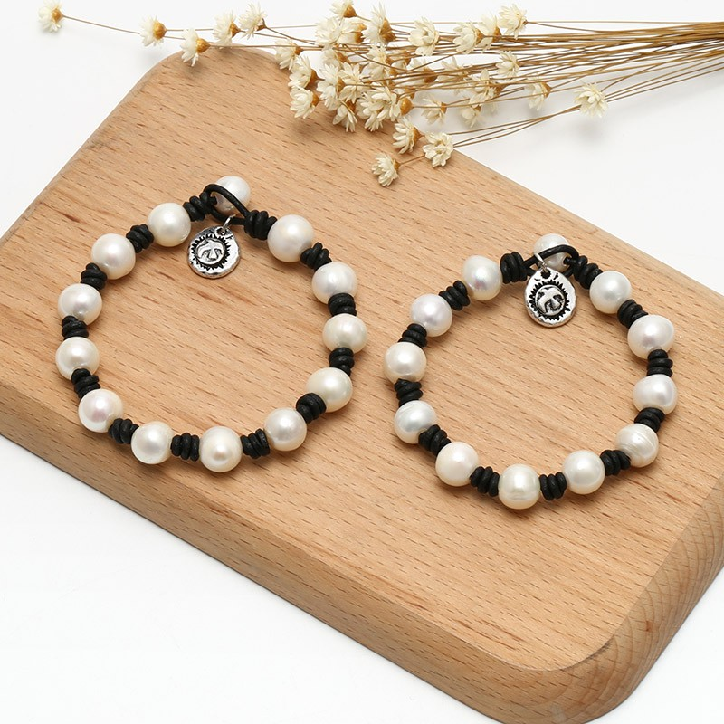 aobei pearl pearl leather bracelet for lovers with. Black Bedroom Furniture Sets. Home Design Ideas