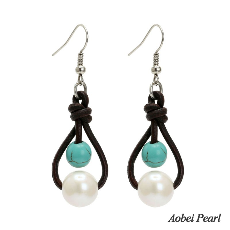 Genuine Turquoise Pearl Earrings