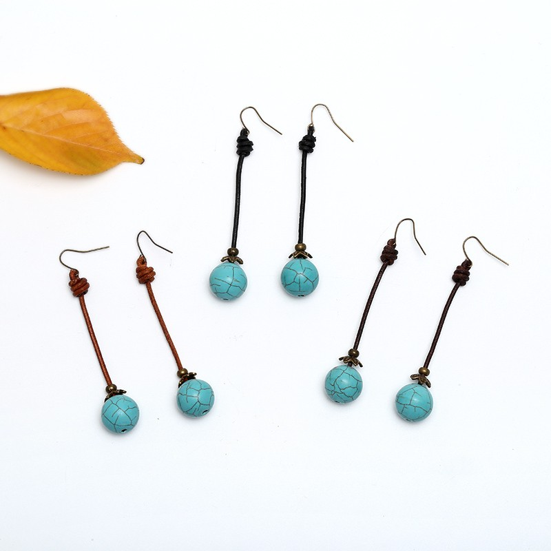 ETS-E197 turquoise drop earring simple design leather handmade ...