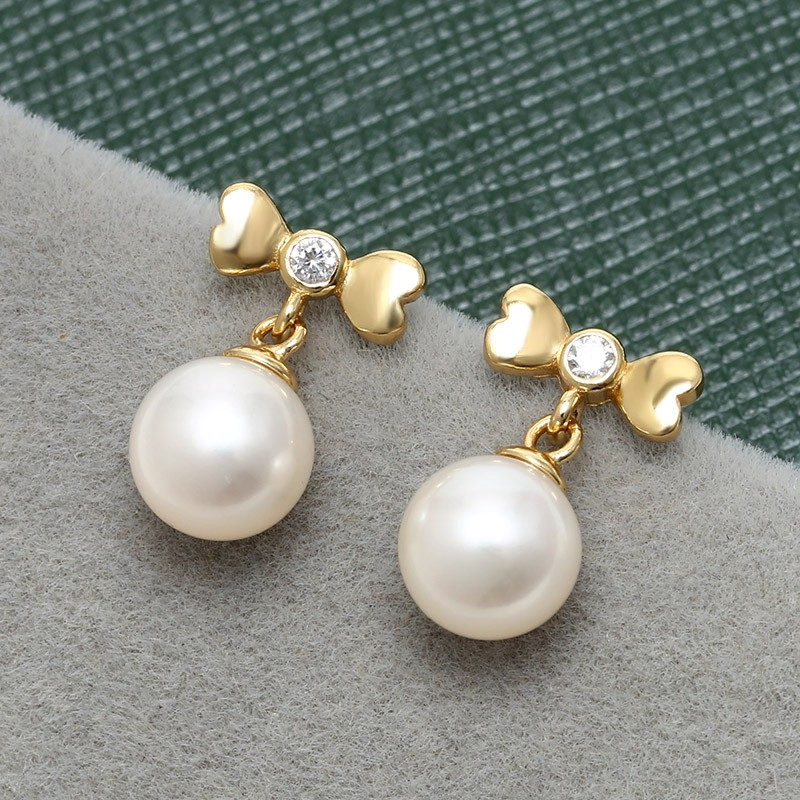 Aobei Pearl Handmade Earring Freshwater String Silver Diamond High Grade Cute Fashion