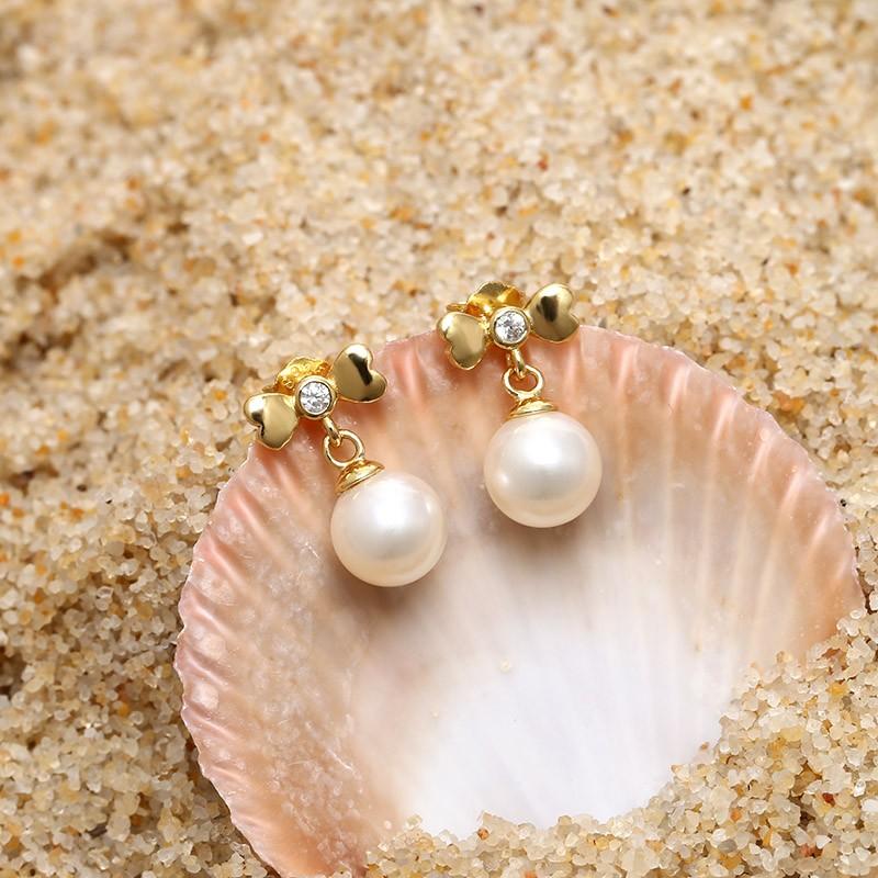 Aobei Pearl Handmade Earring Freshwater String Silver Diamond High Grade Cute Fashion