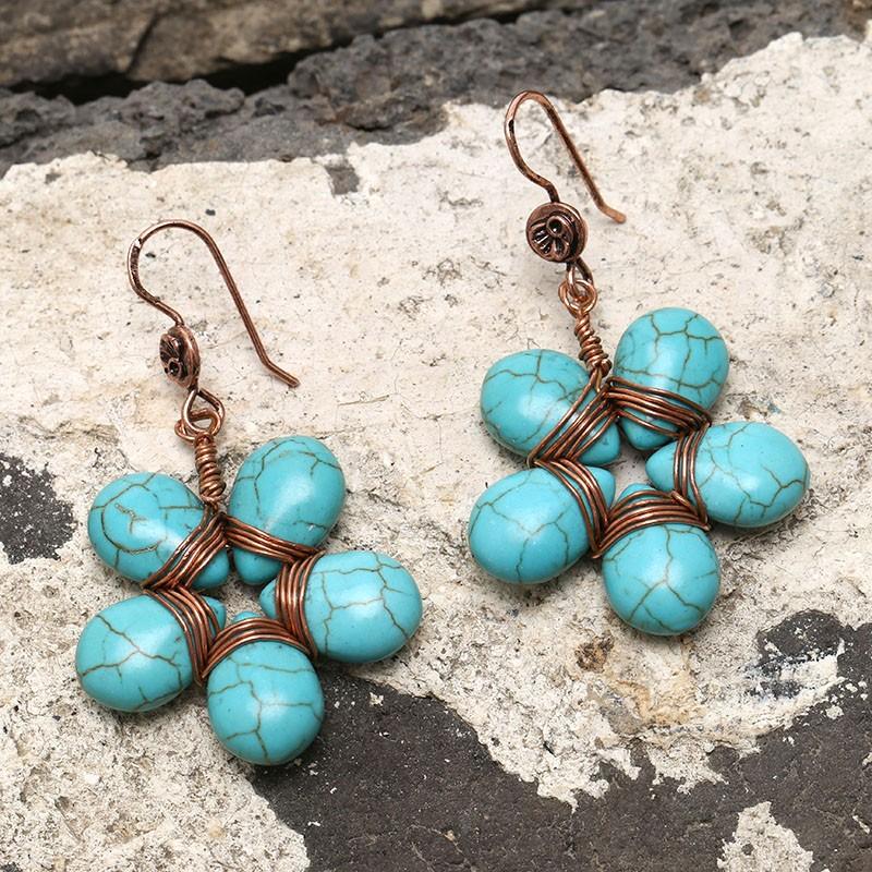 Aobei Pearl, May Flower Shape Earring, Handmade Earring, Turquoise ...