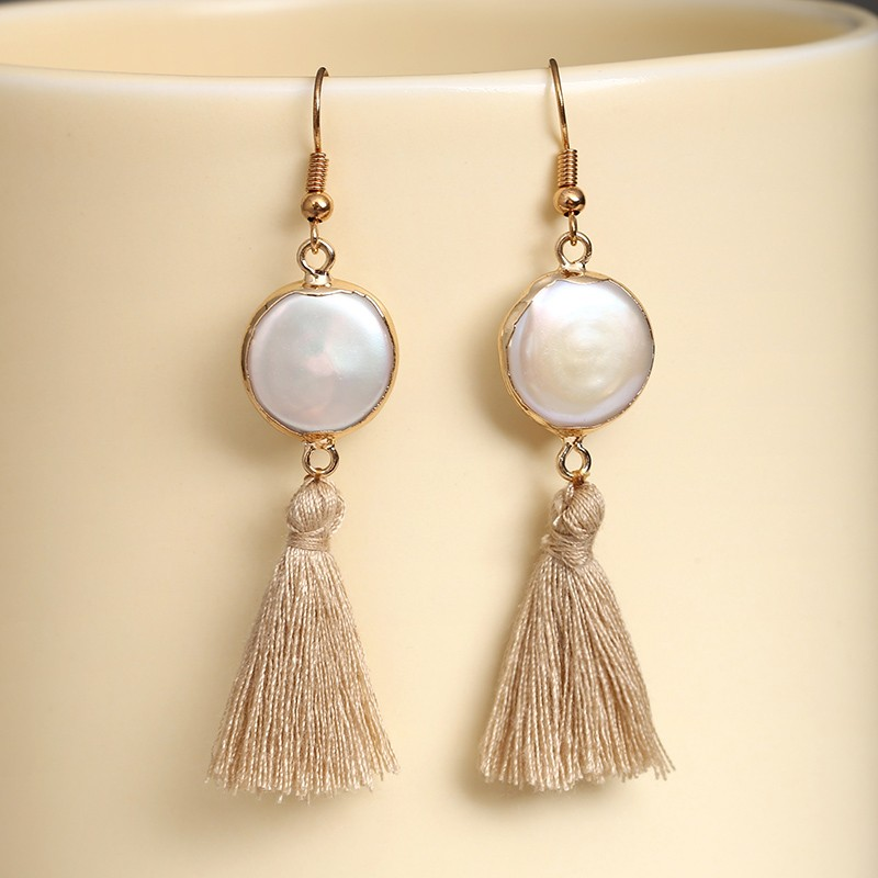 Aobei Pearl Handmade Earring With Gilt 14 15 Mm White Coin Freshwater And Light Brown Tel Ets E241