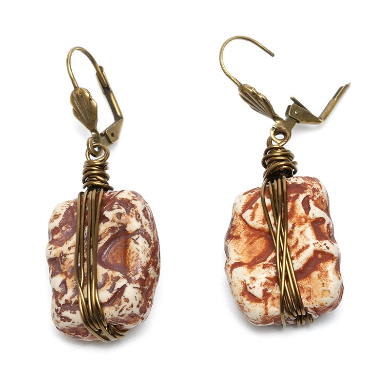 Aobei Pearl, Handmade Ceramics Earring with Copper Wire for Fashion ...