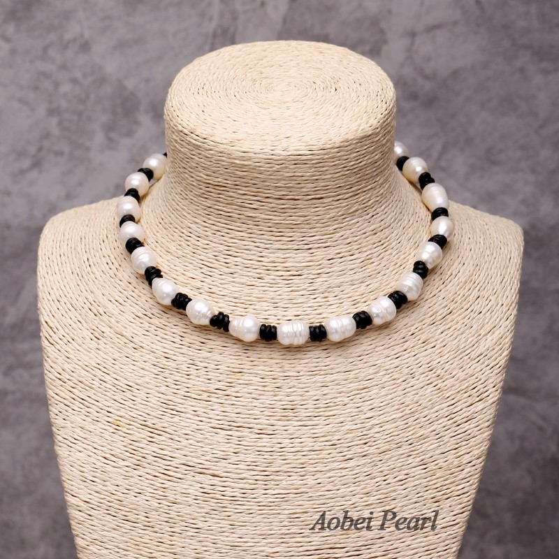 Aobei Pearl Handmade Real Leather Fashion Necklace Made