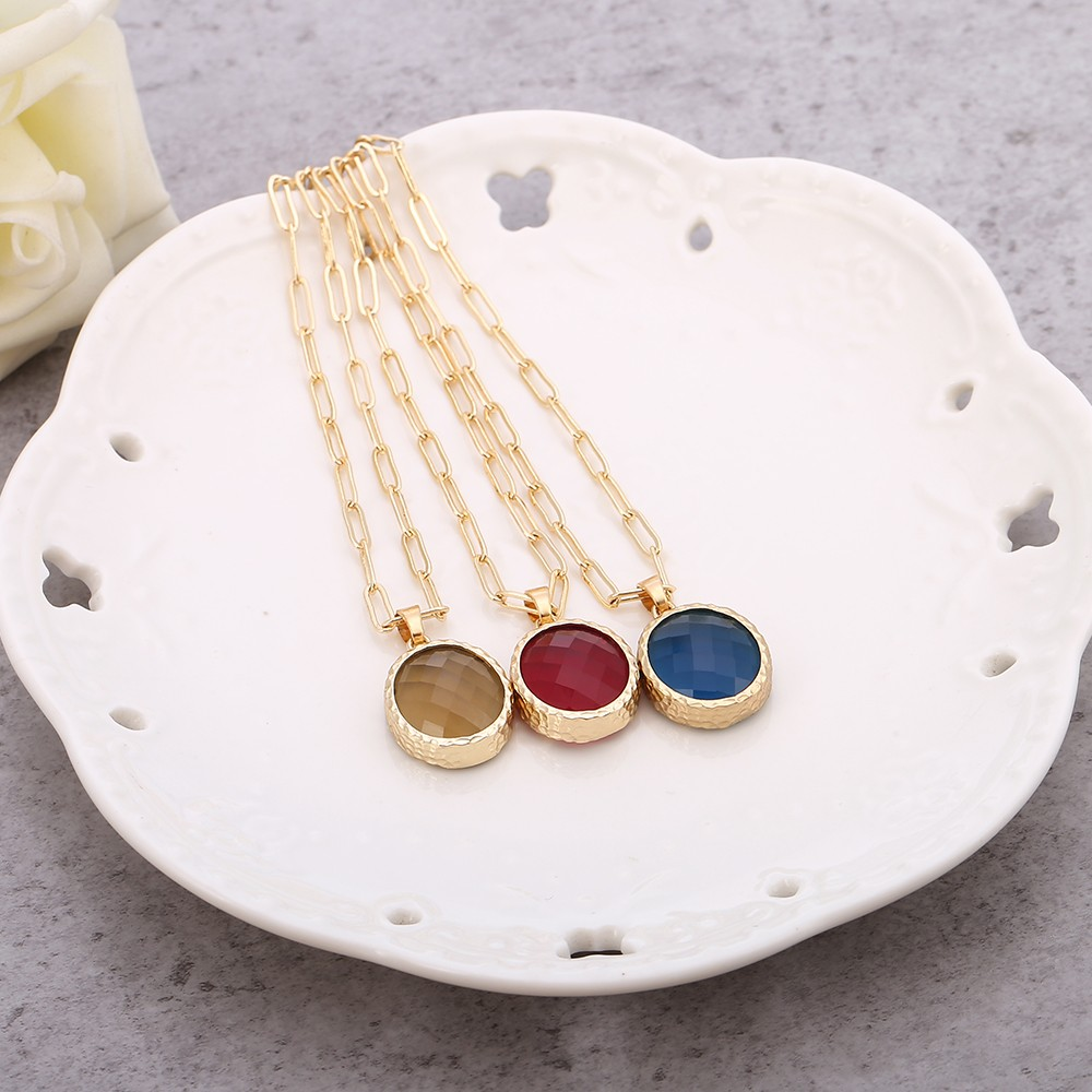 Aobei Pearl Crystal Gemstone Pendant Necklace Adjustable Gold