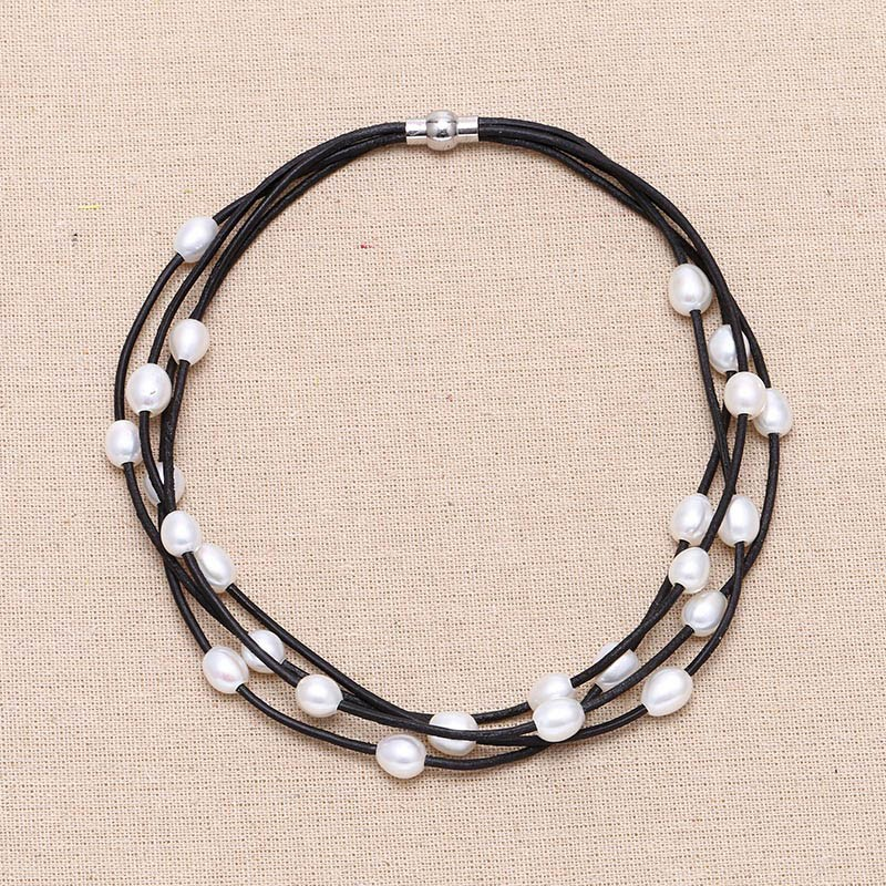 Multi strand pearl leather necklace, Dark brown leather ...