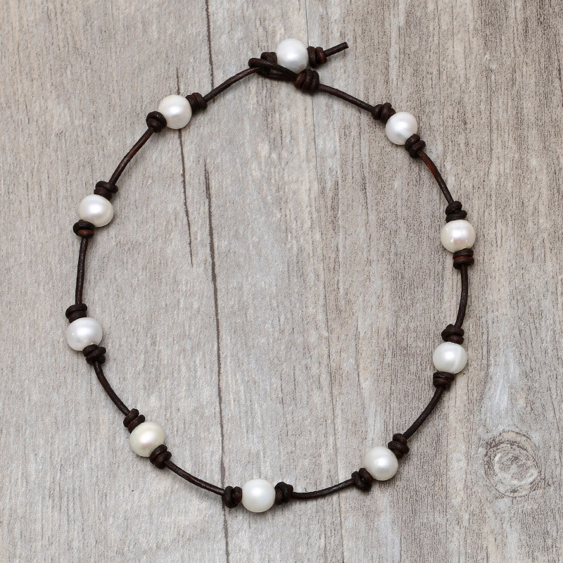 Ideal Aobei Pearl, Handmade Necklace on Pearl & Leather Cord, Pearl  EZ27