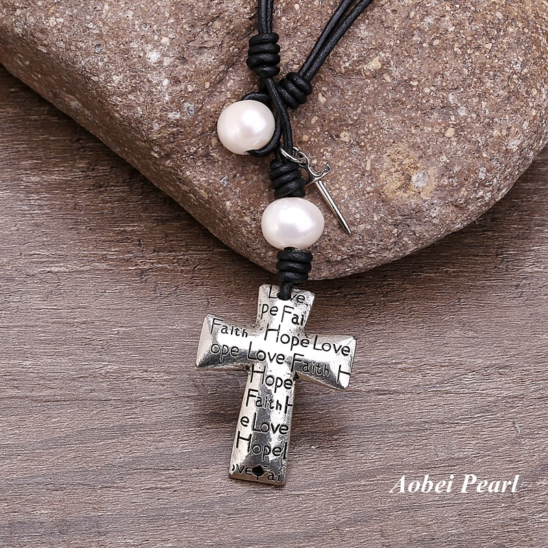 Aobei pearl handmade necklace made of freshwater pearl genuine aobei pearl handmade necklace made of freshwater pearl genuine leather cord cross pendant and alloy accessory leather pearl necklace pendant necklace aloadofball Gallery