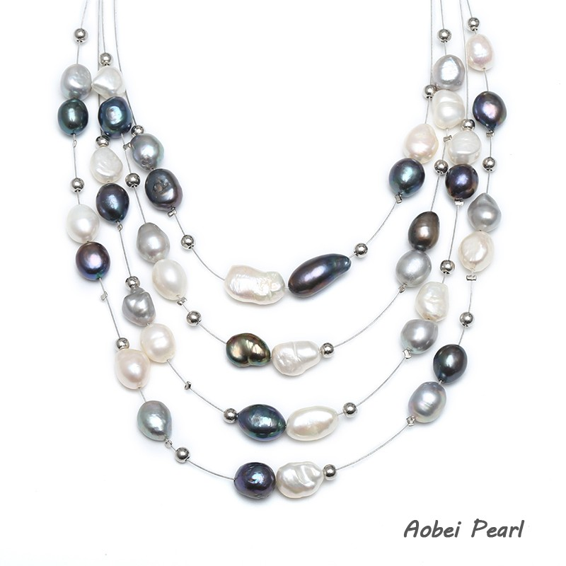 Multi Row Pearl Necklace: Aobei Pearl Handmade Multi-strand Freshwater Pearl