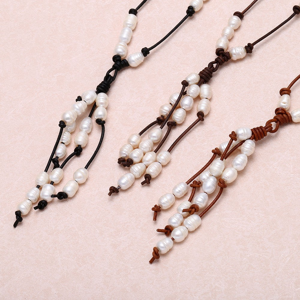 Aobei Pearl  Pearl Leather Tassel Choker Necklace, Pearl Necklace, Pearl  On Leather, Choker Necklace, Ets  S 442