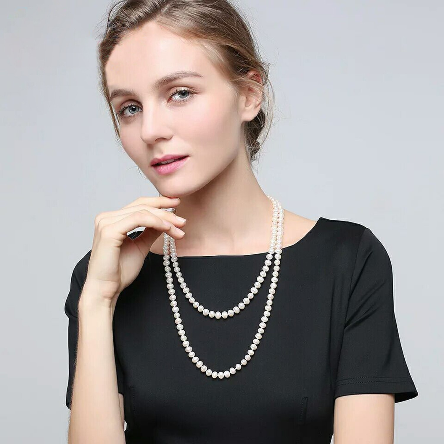 fbc3bcdf3b2de Aobei Pearl Handmade Necklace with Freshwater Pearl and Cotton ...