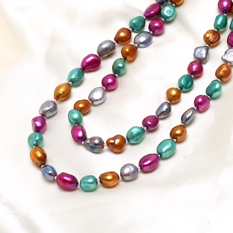 Genuine Colored Genuine Freshwater Pearl Necklace 9 10mm