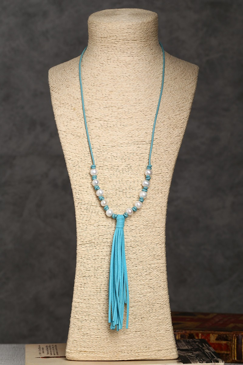 Aobei Pearl Blue Leather Necklace In Handmade Craft With