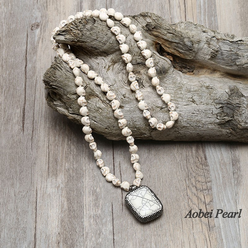 Aobei Pearl Handmade Long Necklace With Skull Head Shape