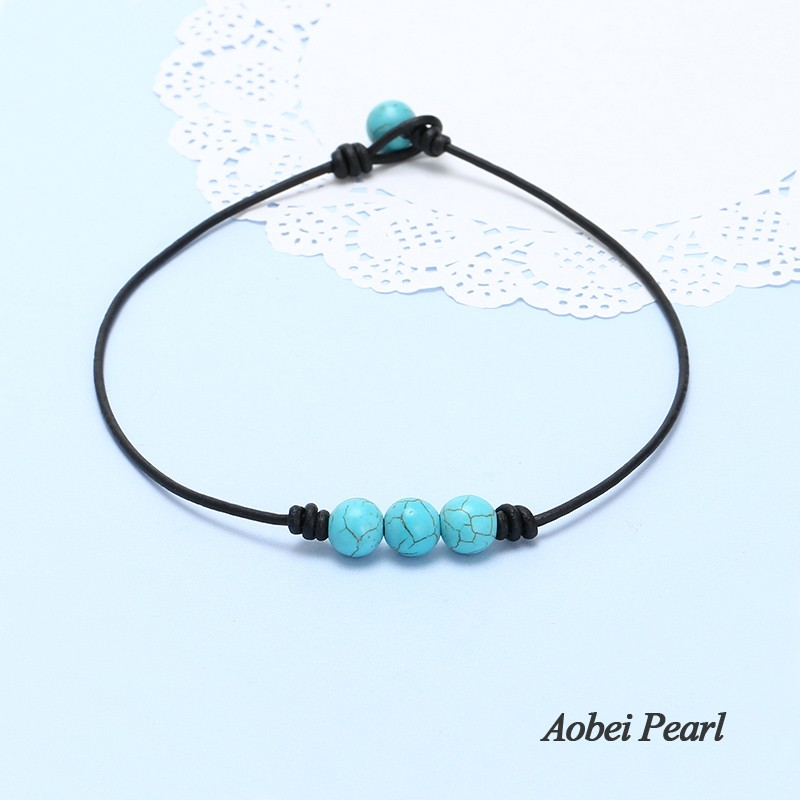 aobei pearl handmade three turquoise beads choker