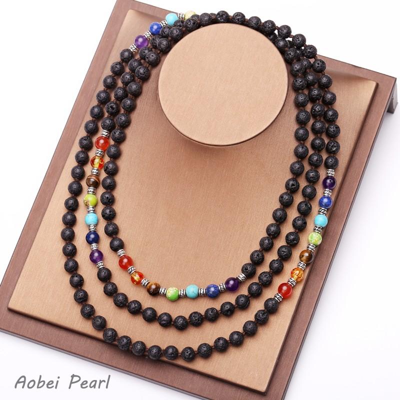 Aobei Pearl Handmade Lava Rock, 7 Chakra Diffuser Necklace ...