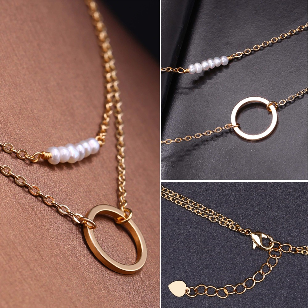 Aobei Pearl 18k Gold Double Chain Choker Necklaces Dainty