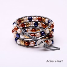 Aobei Pearl, Handmade Bracelet made of  Natural Stone Beads, Freshwater Pearl, Crystal Beads and Genuine Leather Cord, Wrap Bracelet, Pearl Bracelet, ETS-B0022