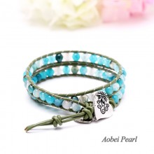 Aobei Pearl Handmade Necklace made of Green Agate Beads, Genuine Leather Cord and Alloy Accessory, Wrap Bracelet, Agate Bracelet, Charm Bracelet, ETS-B0037