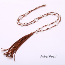 Aobei Pearl, Handmade Suede Tassel & Pearl Necklace in Classical Design ! Pearl Necklace, Suede Necklace, Tassel Necklace, ETS-S692