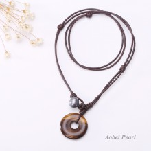 Aobei Pearl Handmade Necklace with Freshwater Pearl, Genuine Leather Cord and Tiger Eye Pendant, Pendant Necklace, Hand-knotted Necklace, Pearl Necklace, ETS-S174