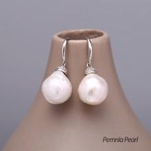 Aobei Pearl Handmade Earring made of 14-16 mm Keshi Freshwater Pearls & 925 String Silver Earring Accessory, Pearl Earring, Silver Earring, Dangle Earring, Diamonds Earring, ETS-E121